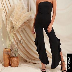 Lulus Black strapless jumpsuit